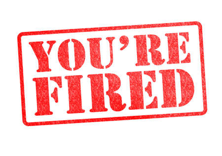 terminated: YOURE FIRED Rubber Stamp over a white background
