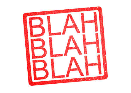 BLAH BLAH BLAH Rubber Stamp over a white background.