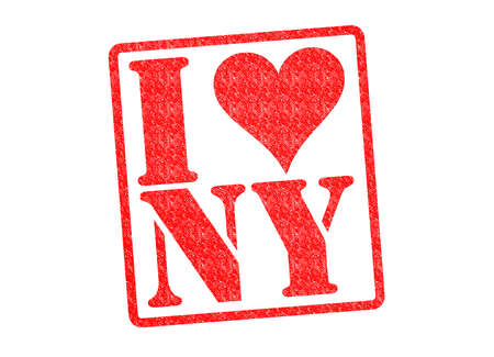 ny: I LOVE NY Rubber Stamp over a white background.