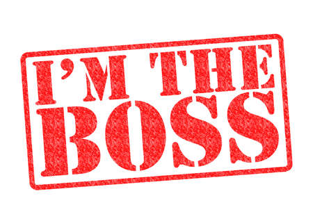 autocratic: IM THE BOSS Rubber Stamp over a white background.