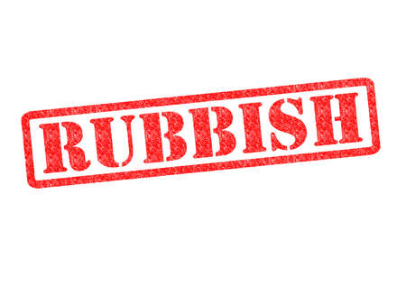 trashed: RUBBISH Rubber Stamp over a white background. Stock Photo