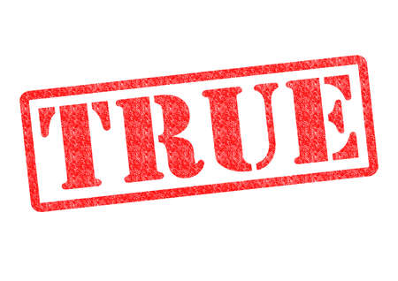 trusting: TRUE Rubber Stamp over a white background. Stock Photo