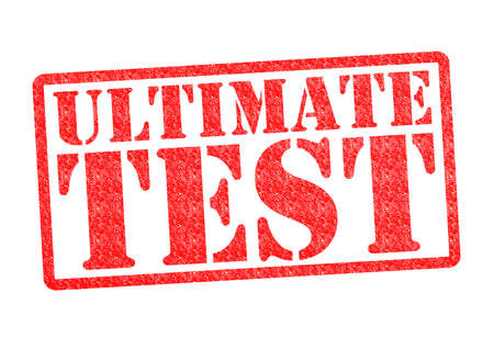 ultimate: ULTIMATE TEST Rubber Stamp over a white background. Stock Photo