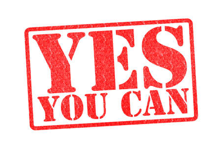 make belief: YES YOU CAN Rubber Stamp over a white background. Stock Photo