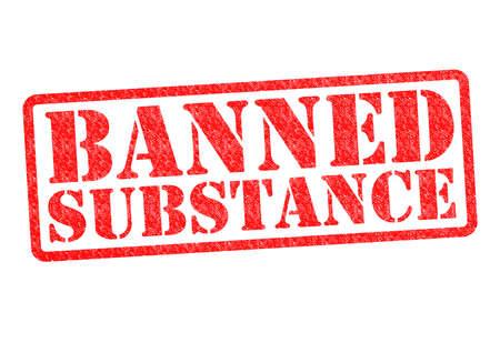 illicit: Sostanza vietata timbro di gomma su uno sfondo bianco.