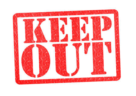 keep: KEEP OUT rubber stamp over a white background.