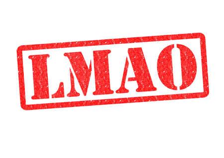 abbreviated: LMAO timbro di gomma su uno sfondo bianco.