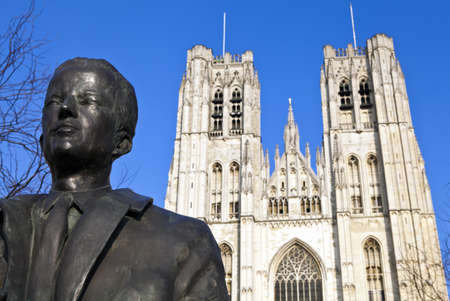 baudouin: King Baudouin Statue & St. Michael and St. Gudula Cathedral in Brussels, Belgium. Editorial