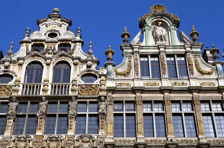 guildhalls: Close-up shot of some of the Guildhalls on the Grand Place in Brussels. Editorial