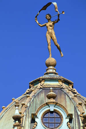 guildhalls: A beautiful sculpture on one of the Guildhalls in Grand Place, Brussels. Stock Photo