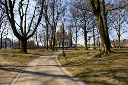 elisabeth: View of the Basilica of the Sacred Heart from Parc Elisabeth in Brussels. Editorial