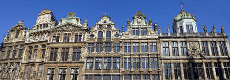 guildhalls: A panorama of the impressive Guildhalls in Grand Place, Brussels.