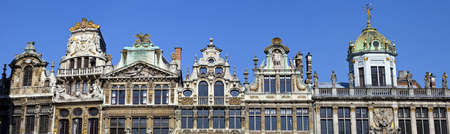 guildhalls: Panoramic view of the impressive Guildhalls in Grand Place, Brussels.