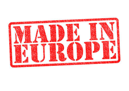made in portugal: MADE IN EUROPE Rubber Stamp over a white background  Stock Photo