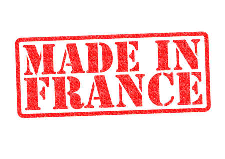 exported: MADE IN FRANCE Rubber Stamp over a white background  Stock Photo