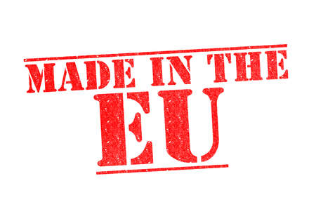 MADE IN THE EU Rubber Stamp over a white background  photo