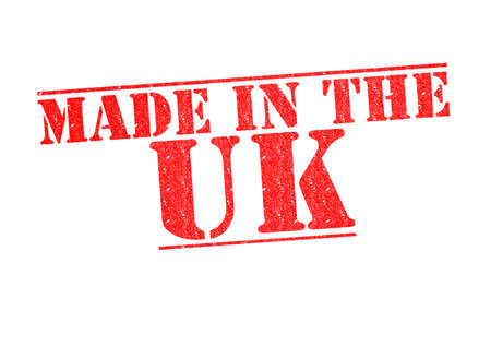 exported: MADE IN THE UK Rubber Stamp over a white background