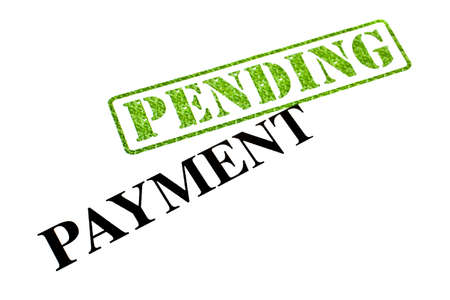 pending: Payment is currently PENDING. Stock Photo
