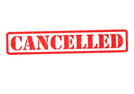 refused: CANCELLED Rubber Stamp over a white background. Stock Photo