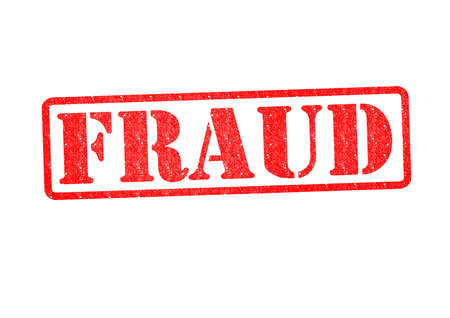 vals geld: FRAUDE Rubber Stamp over een witte achtergrond.