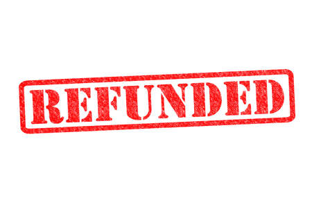 refunds: REFUNDED Rubber Stamp over a white background. Stock Photo