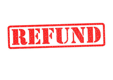 refunds: REFUND Rubber Stamp over a white background.