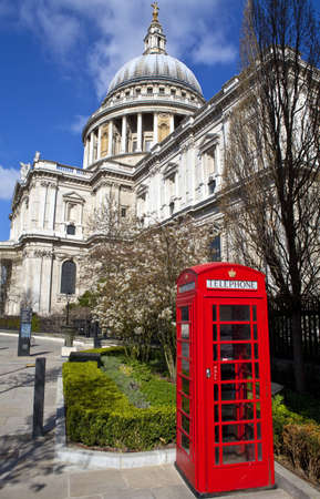 St. Paul's Cathedral and Red Telephone Box in London. photo