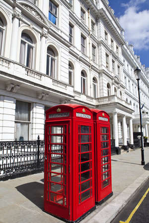 phonebox: Iconic British Red Telephone boxes in London.