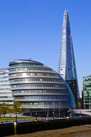 View of City Hall and the Shard in London. Editorial