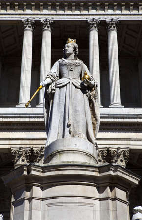 The Queen Anne Statue situated infront of St Pauls Cathedral in London. Stock Photo - 19411925