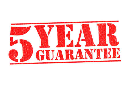 contracts: 5 YEAR GUARANTEE Rubber Stamp over a white background. Stock Photo