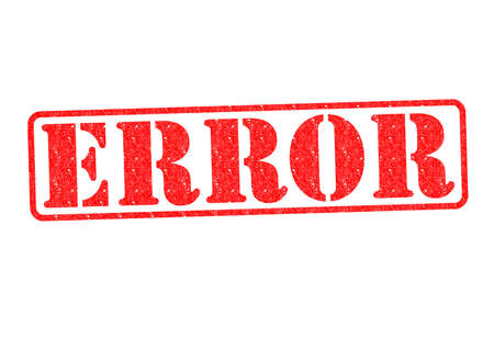 blunder: ERROR Rubber Stamp over a white background. Stock Photo