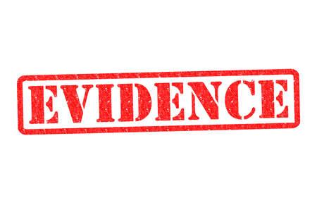 Caucho EVIDENCIA sello sobre un fondo blanco. Foto de archivo