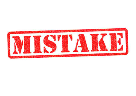 flaw: MISTAKE Rubber Stamp over a white background.