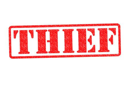 beroofd: DIEF Rubber Stamp over een witte achtergrond. Stockfoto