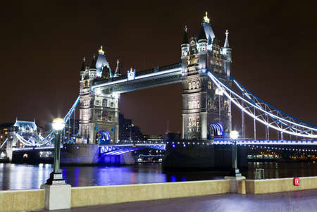 A view of the magnificent Tower Bridge and the river Thames in London  photo