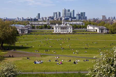 La magnifica vista dal l'Osservatorio di Greenwich prendendo in luoghi come Docklands e il Royal Naval College di Londra.