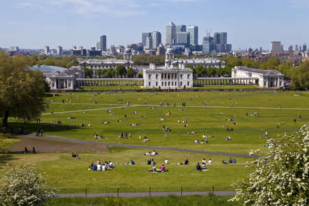 greenwich: The magnificent view from the Greenwich Observatory taking in sights such as Docklands and the Royal Naval College in London. Stock Photo