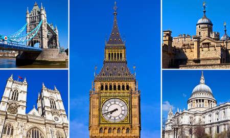 tourist destinations: A montage of a few of Londons best-known tourist destinations and landmarks