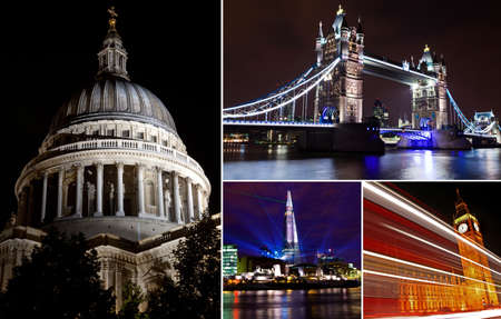 Some of Londons Landmarks at Night