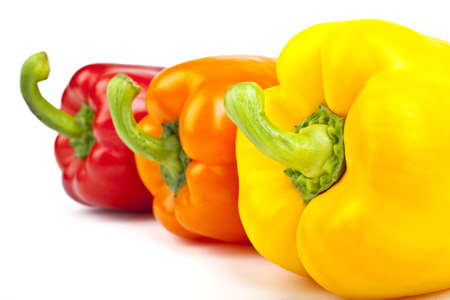 Three Bell Peppers over a white background  photo