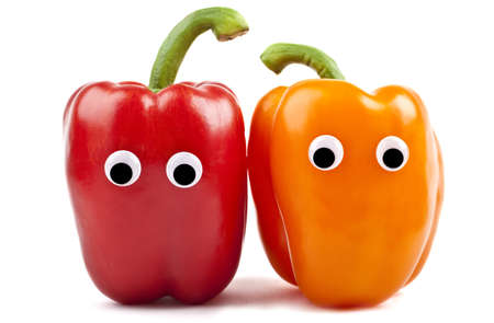 Bell Pepper Characters over a white background  photo