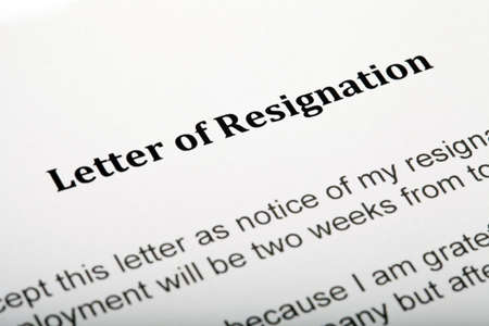 Close up of a Letter of Resignation photo