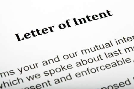 intent: A close up of a Letter of Intent