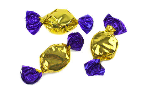 Wrapped Sweets over a white background. photo
