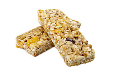 Cereal Bars over a white background. photo