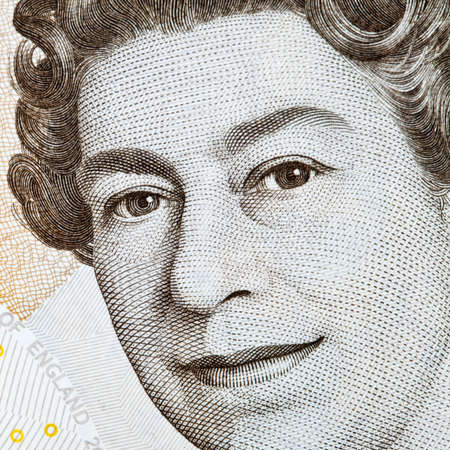 Close-up of the Queen on an English Banknote. photo
