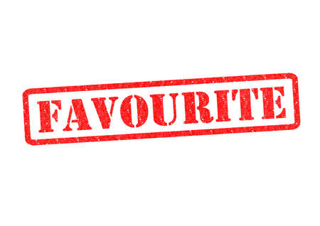 favourites: FAVOURITE Rubber Stamp over a white background. Stock Photo