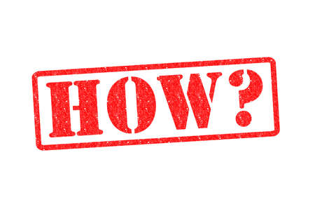 questioned: HOW? Rubber Stamp over a white background.