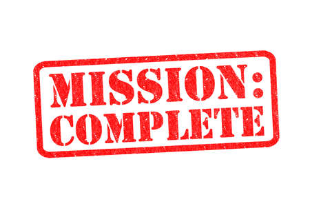 faultless: MISSION: COMPLETE Rubber Stamp over a white background.